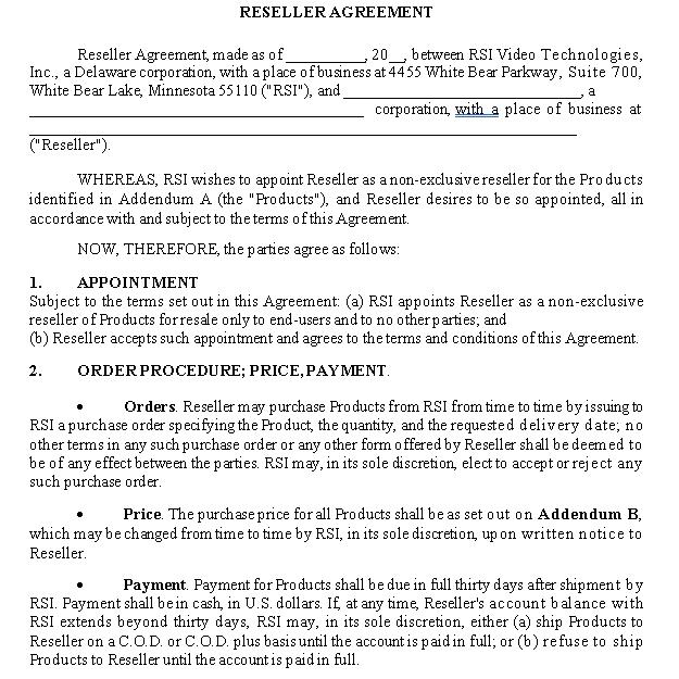 Equipment Reseller Agreement