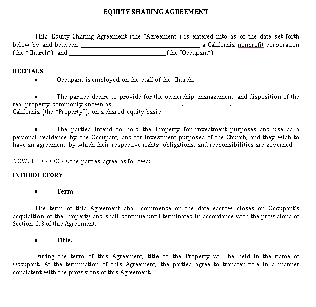 Equity Sharing Agreement