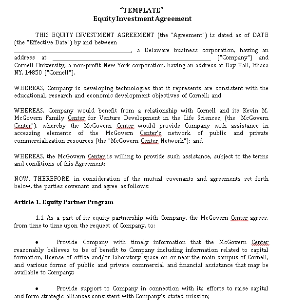Equity Venture Capital Investment Agreement Template