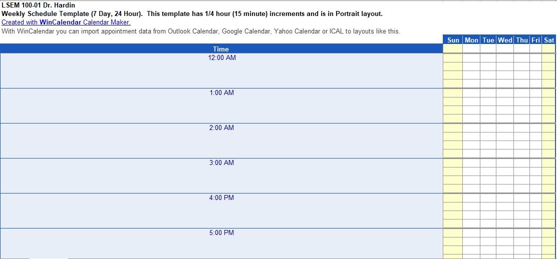 Excel 24 Hour Schedule