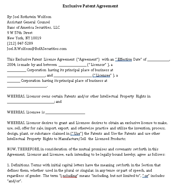 Exclusive Agreement