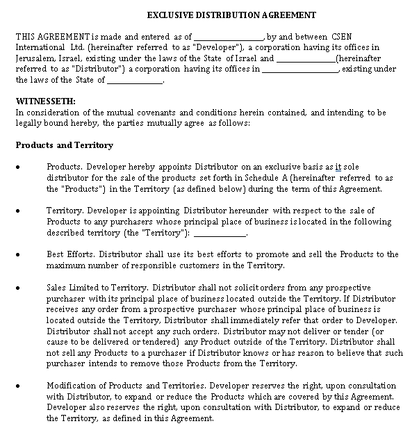 Exclusive Distribution Agreement Form Sample