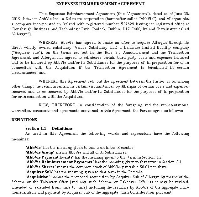 Expenses Reimbursement Agreement