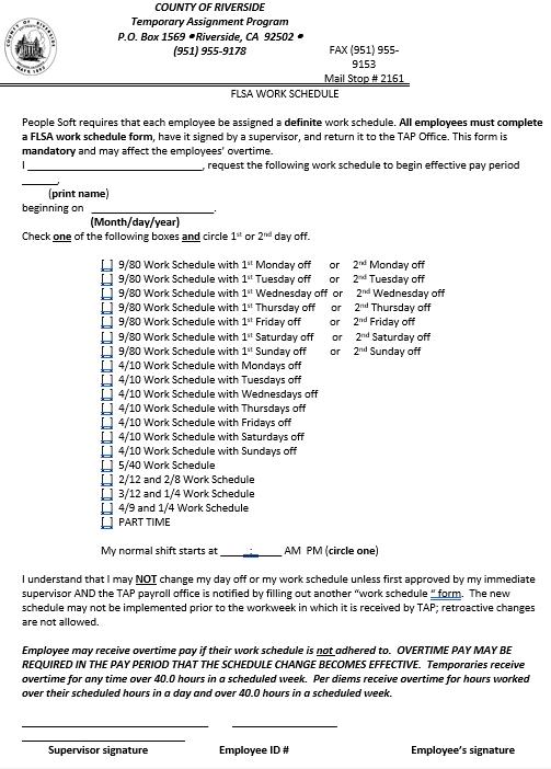 FLSA Work Schedule