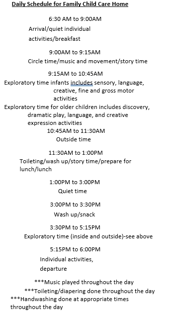 Family Child Care Daily Schedule