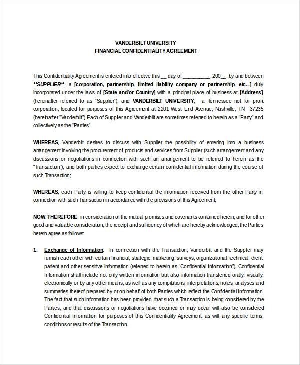 Financial Detail Confidentiality Agreement1