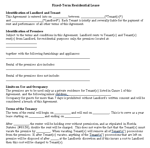 Fixed Term Rental Agreement Template