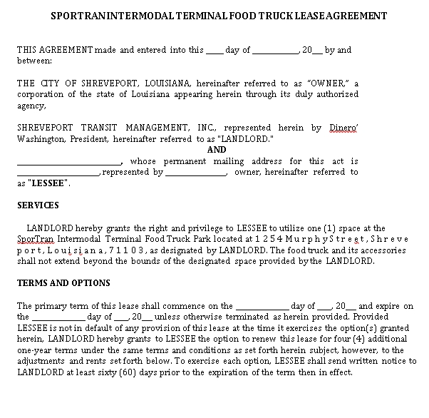 Food Truck Lease Agreement Template