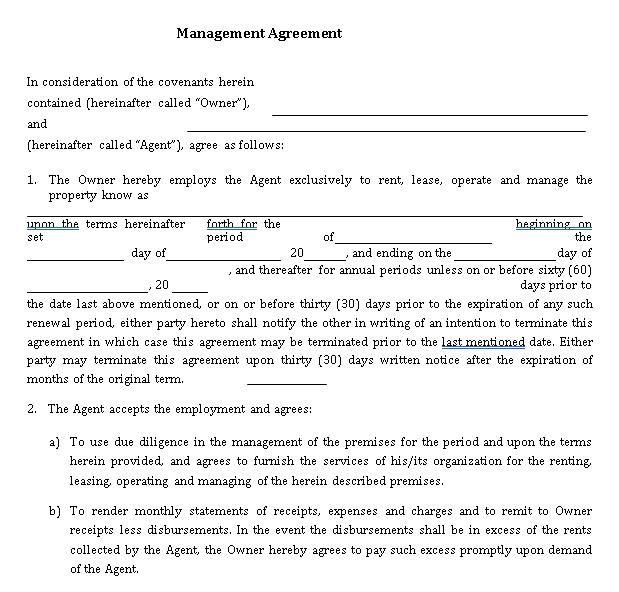 Formal Real Estate Management Agreement