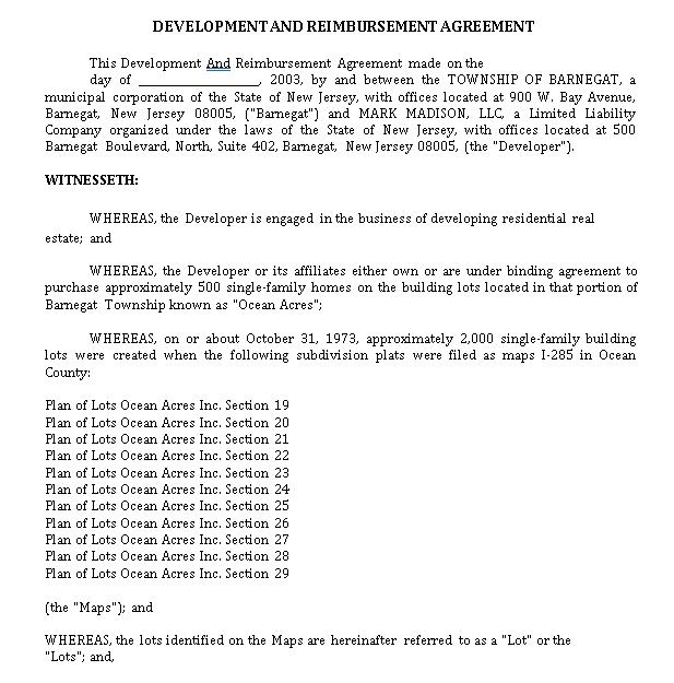 Formal Reimbursement Agreement Template
