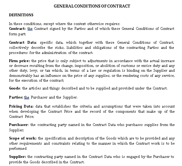 General Conditions of a Supplier Agreement Contract