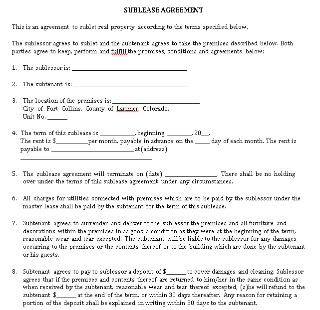 General Sublease Agreement Template