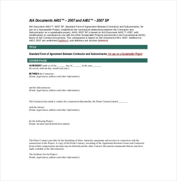 Generic Subcontractor Agreement PDF Format
