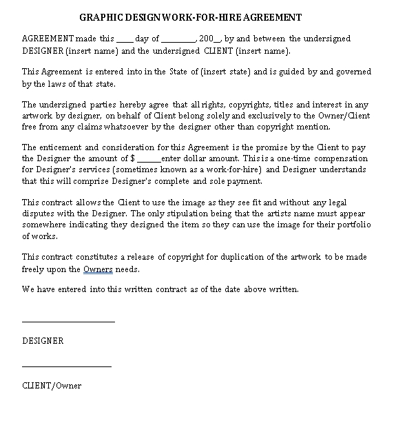 Graphic Design Work for Hire Agreement