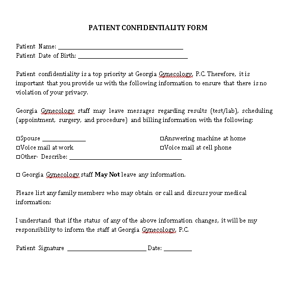 Gynecologists Patient Confidentiality Agreement