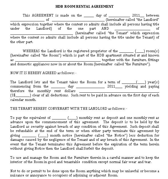 HDB Room Rental Agreement Template