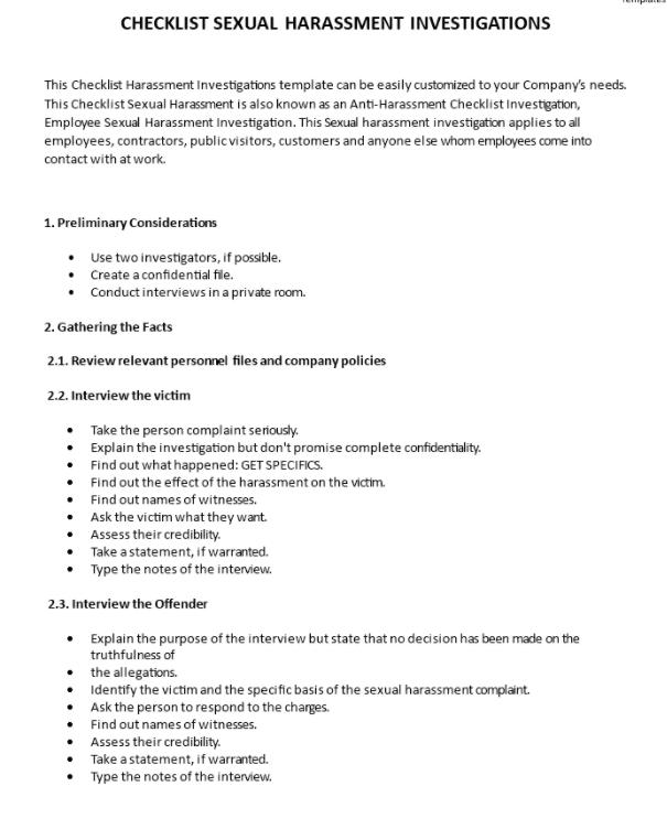 Harassment Investigation Checklist