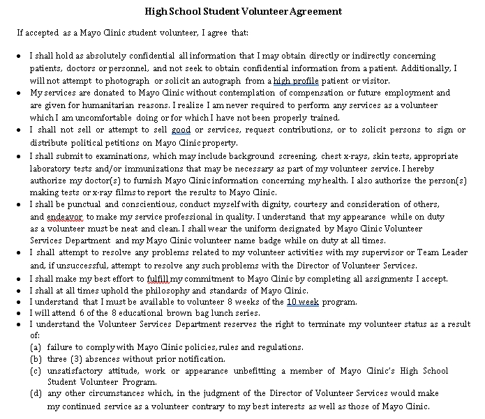 High Scholl Student Volunteer Agreement