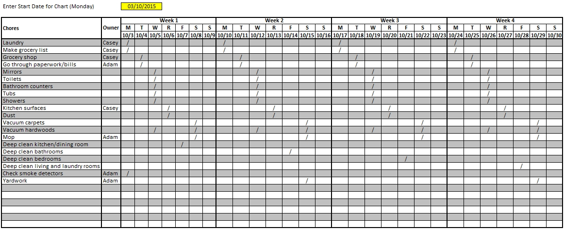 House Cleaning Schedule Excel Format