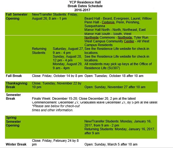 Housing Break Dates Schedule