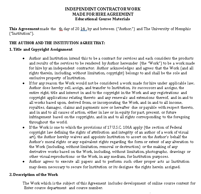 Independent Contractor Work Made for Hire Agreement