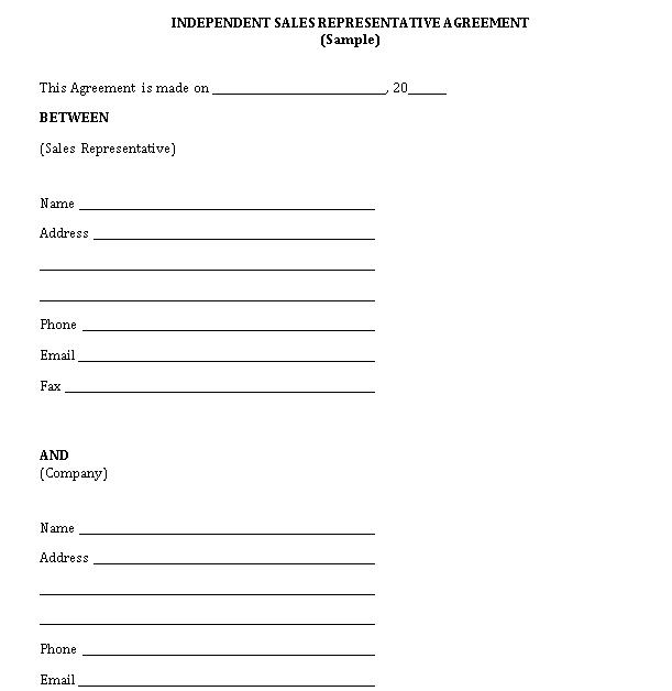 Independent Sales Representative Agreement