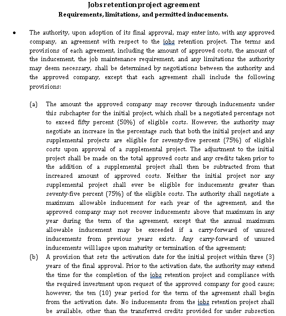 Jobs retention project agreement
