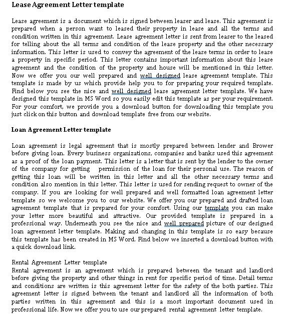 Lease Agreement Letter Doc
