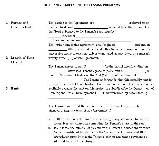 Leasing Program Occupancy Agreement