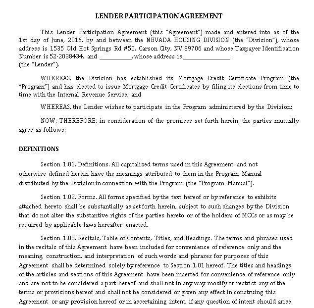 Lender Participation Agreement
