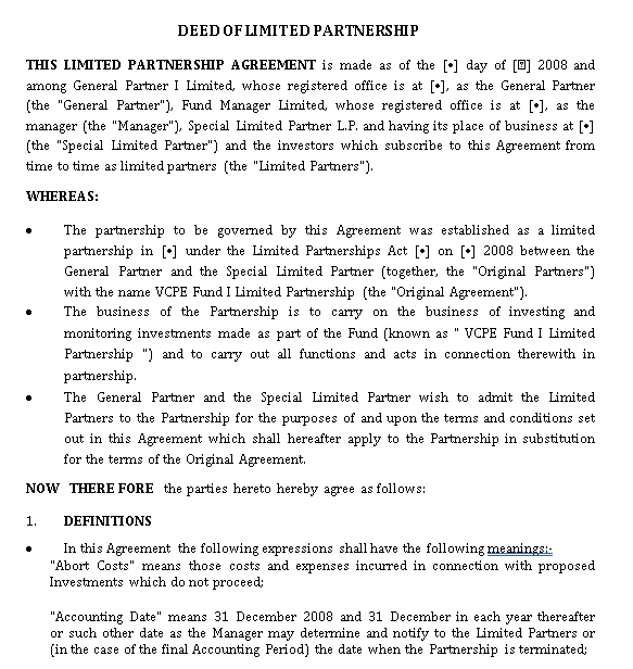 Limited Partnership Venture Capital Agreement Template