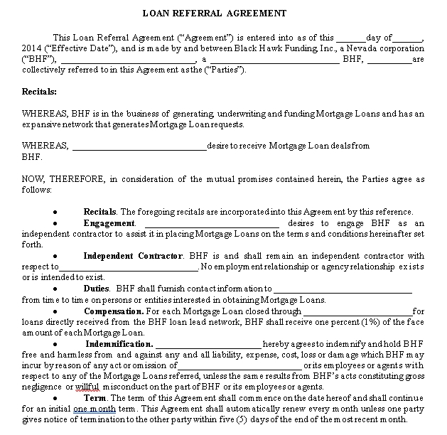 Loan Referral Agreement Sample