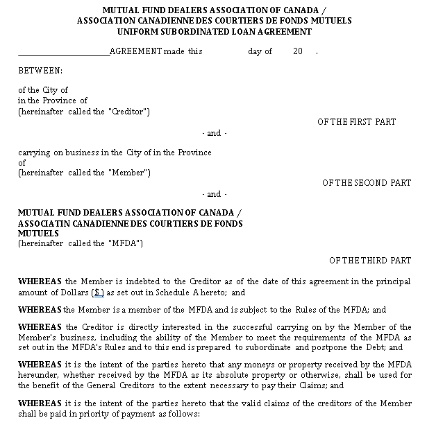Loan Subordination Agreement