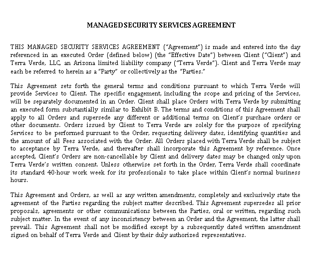 Managed Security Services Agreement