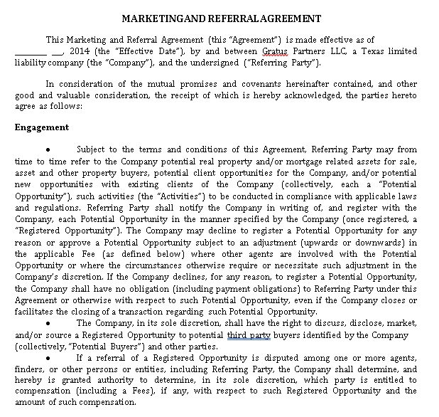 Marketing Referral Agreement Template