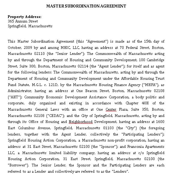 Master Subordination Agreement