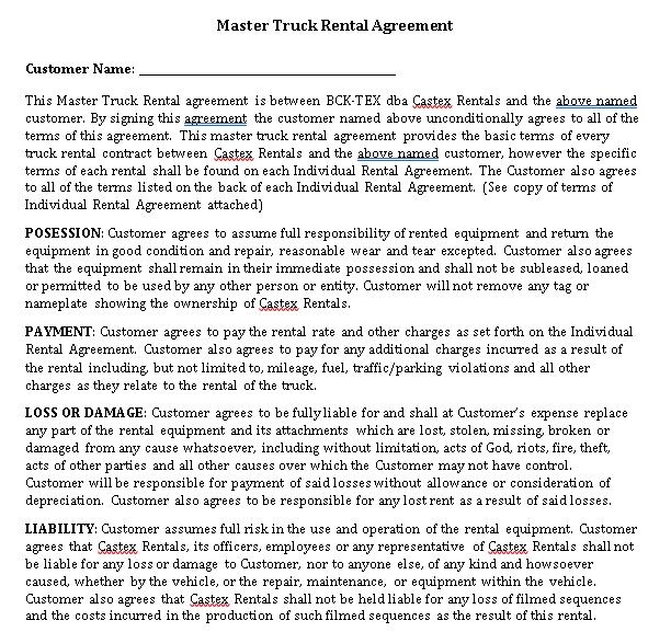 Master Truck Rental Agreement