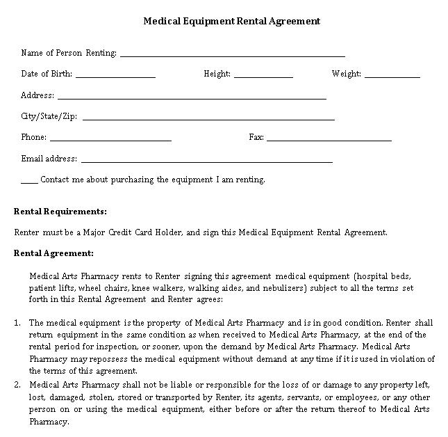 Medical Equipment Rent Agreement