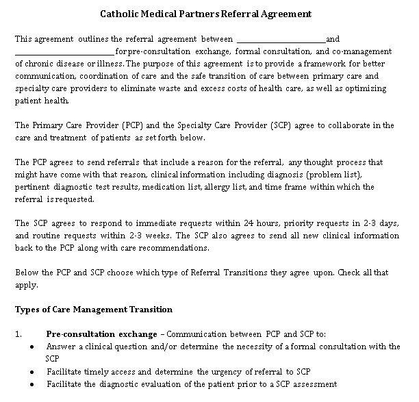 Medical Referral Agreement Template