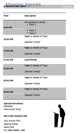 Meeting Agenda Public Event Conference Schedule Sample