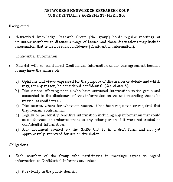 Meeting Confidentiality Agreement Example