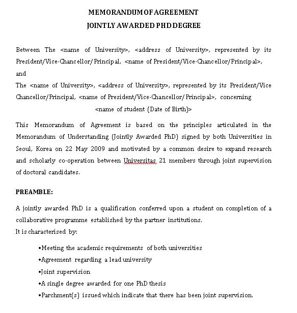 Memorandum of Agreement Jointly Awarded PhD Degree Template