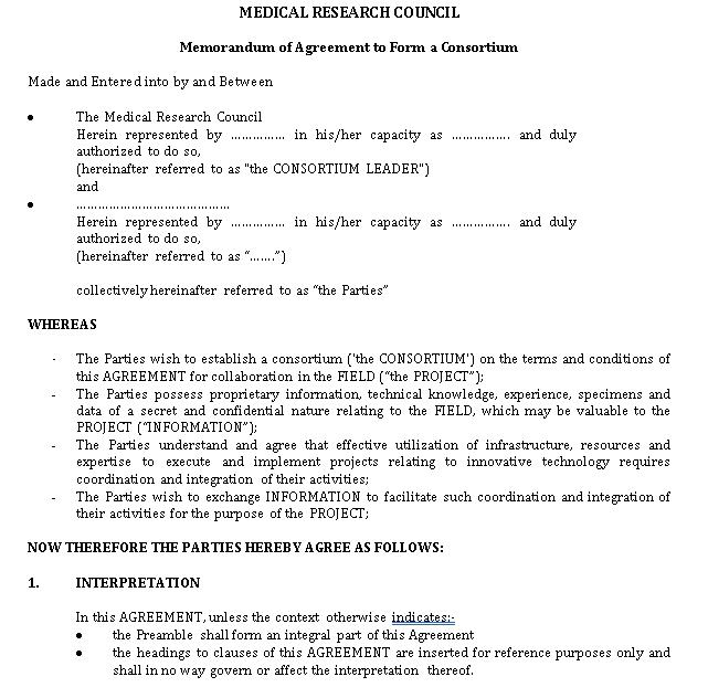 Memorandum of Agreement to Form a Consortium Template