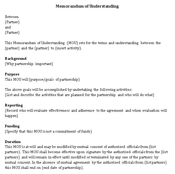 Memorandum of Understanding Agreement Template Word Document