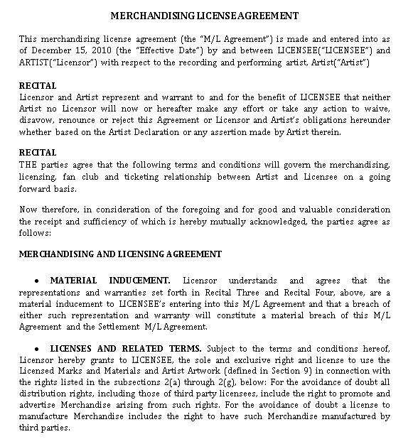 Merchandising License Agreement