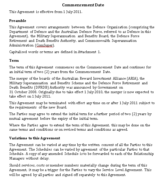 Military Service Level Agreement Template
