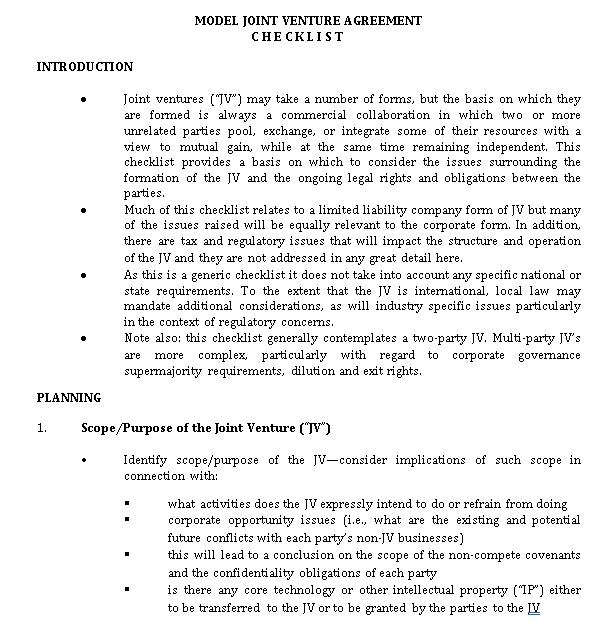 Model Joint Venture Agreement Checklist