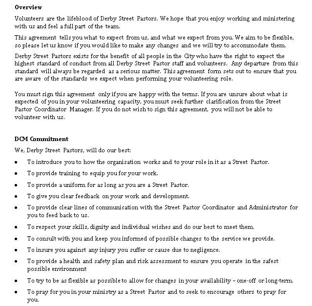 Model Volunteer Agreement