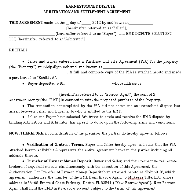 Money Settlement Agreement Template