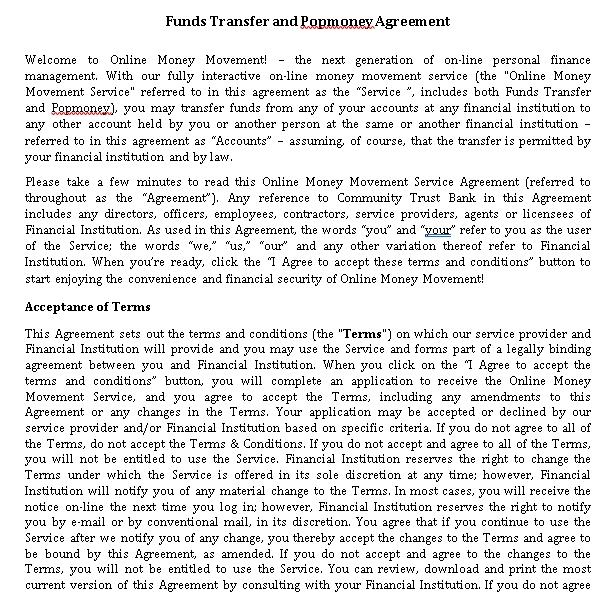 Money Transfer Agreement Template